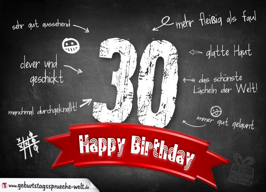 Geburtstagssprüche Zum 30 Frau  Komplimente Geburtstagskarte zum 30 Geburtstag Happy