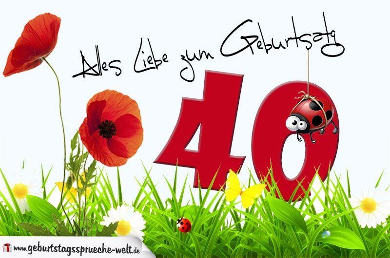 Geburtstagssprüche Zum 40.  Geburtstagskarte mit Blumenwiese zum 40 Geburtstag