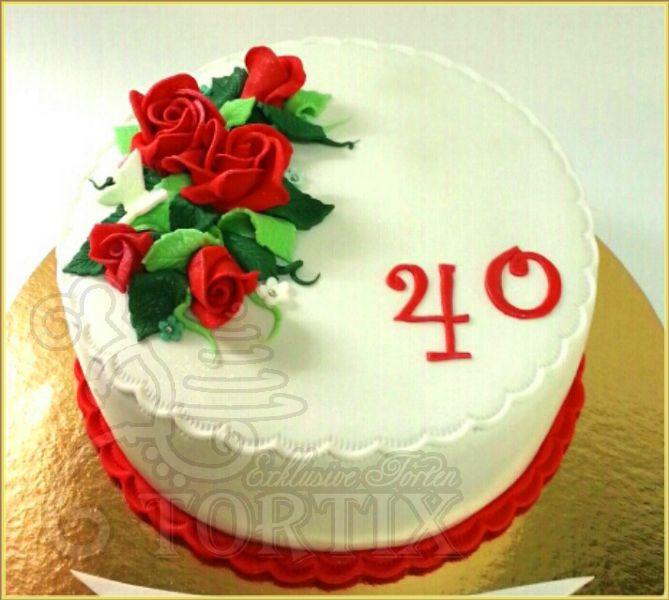 Geburtstagstorte 40  Tortix Torte mit roten Rosen zum 40 Geburtstag