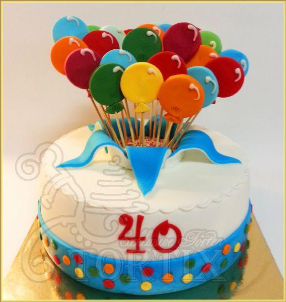 Geburtstagstorte 40  Tortix Torte mit Luftballons zu 40 Geburtstag