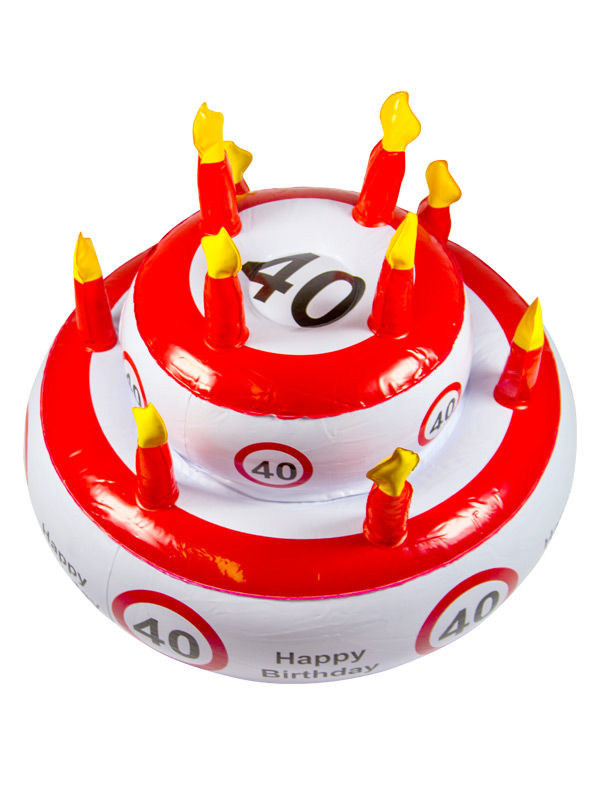 Geburtstagstorte 40  40 Geburtstag Geburtstagstorte aufblasbar weiss rot schwarz