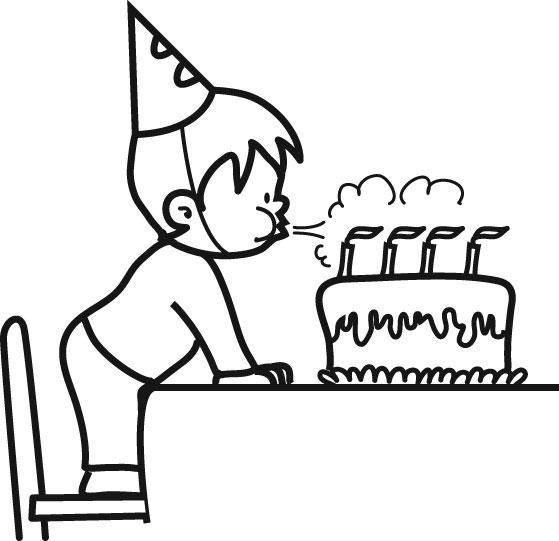 Geburtstagstorte Ausmalbild  Kostenlose Ausmalbilder und Malvorlagen Geburtstag zum