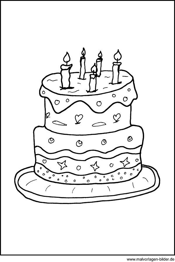Geburtstagstorte Ausmalbild  Malvorlage von einer Geburtstagstorte Kuchen Ausmalbild