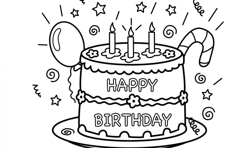Geburtstagstorte Ausmalbild  Kostenlose Geburtstagstorten Bilder zum Ausmalen Deko