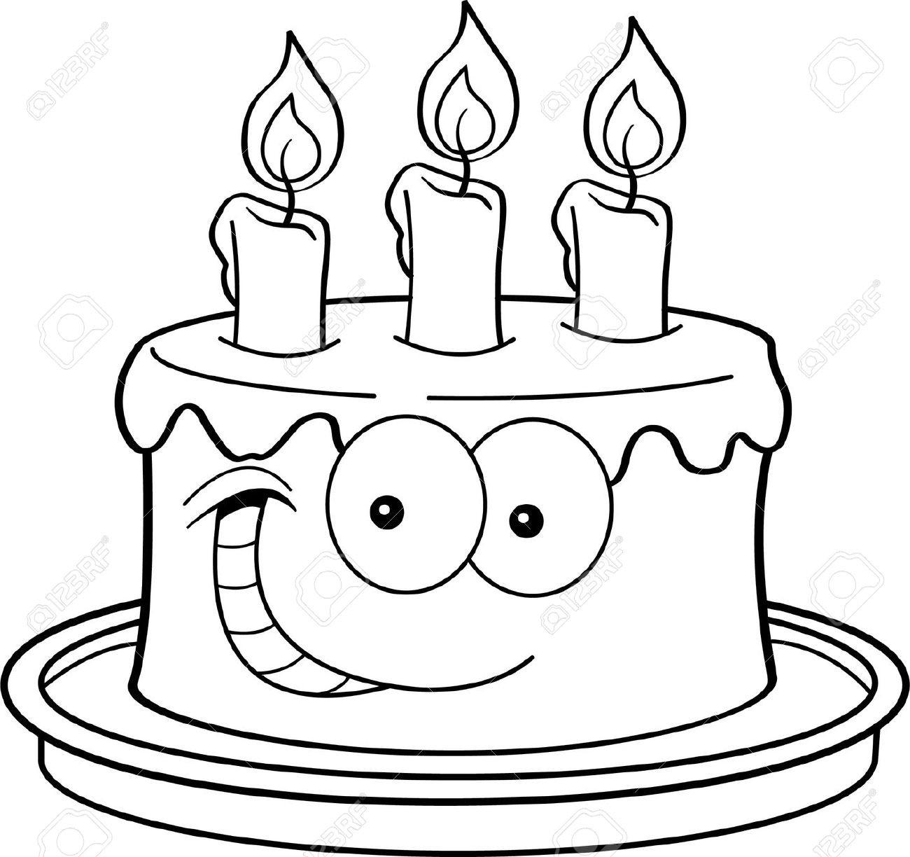 Geburtstagstorte Clipart Schwarz Weiß  Clipart kuchen schwarz weiss