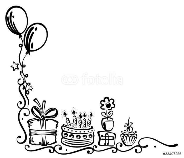 Geburtstagstorte Clipart Schwarz Weiß  Aufkleber Geburtstag Torte Geschenke birthday Ranke