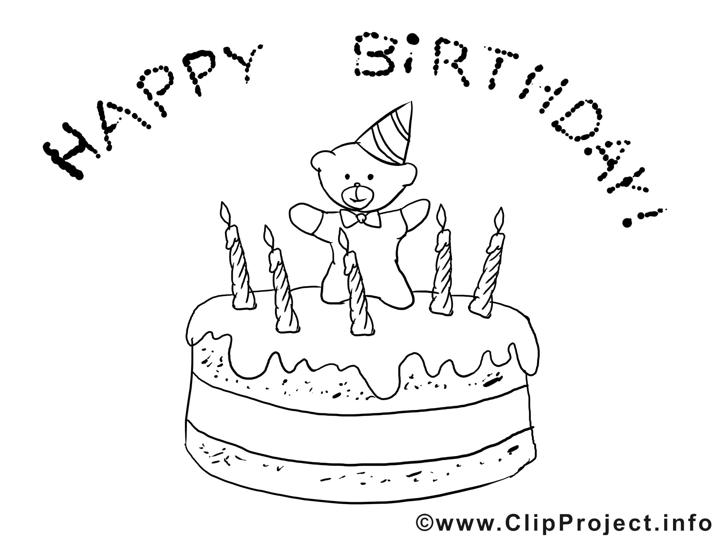 Geburtstagstorte Clipart Schwarz Weiß  Ausmalbild Torte zum Geburtstag