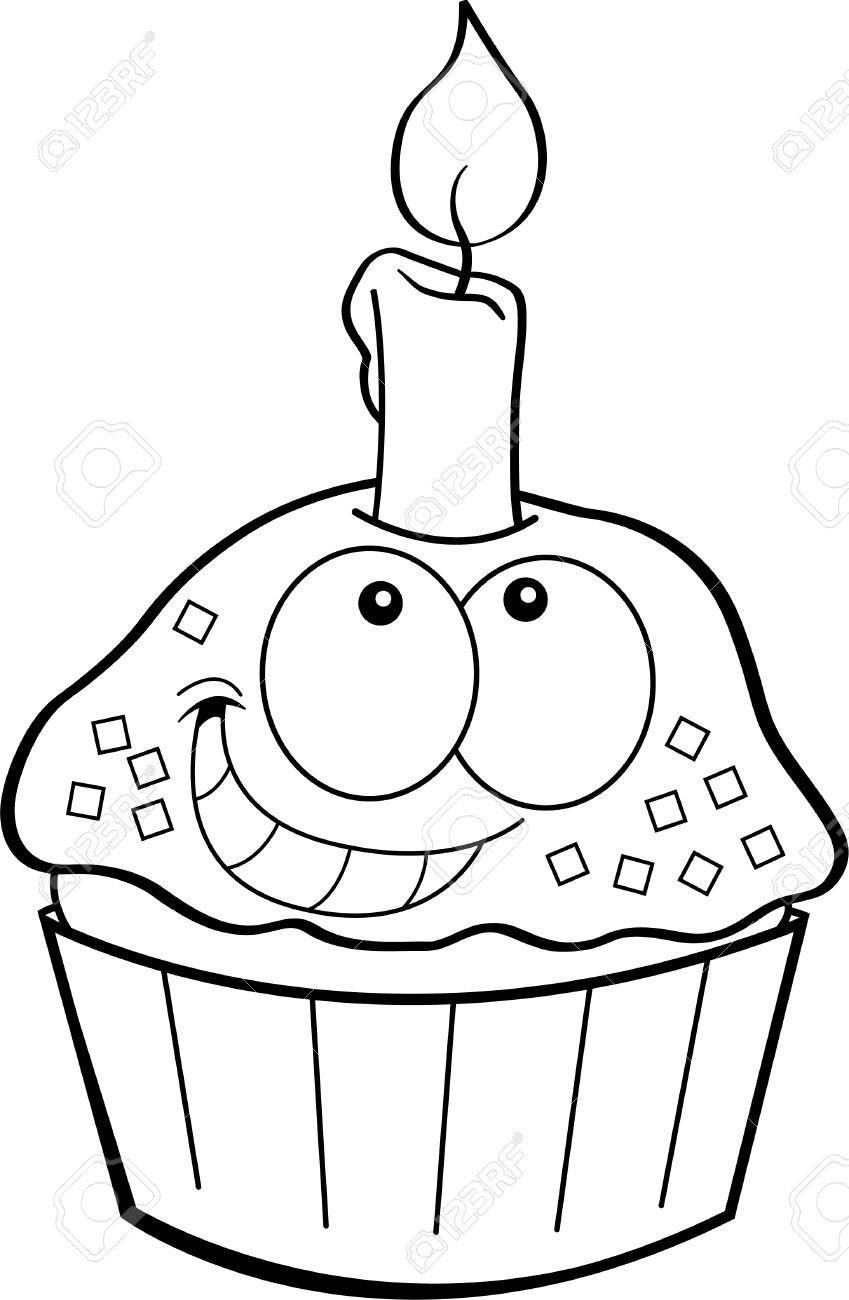 Geburtstagstorte Clipart Schwarz Weiß  geburtstagstorte