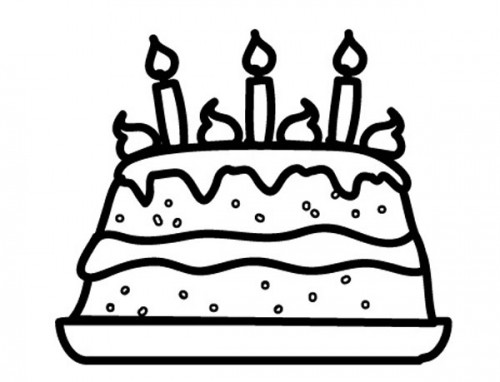 Geburtstagstorte Clipart Schwarz Weiß  Kostenlose Malvorlage Geburtstag Geburtstagstorte zum