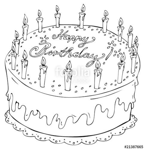 """Geburtstagstorte Clipart Schwarz Weiß  """"Geburtstagstorte Geburtstag 16 Kerzen Kuchen Torte"""