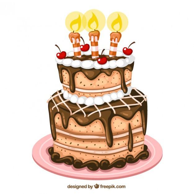 Geburtstagstorte Gezeichnet  Bolo de aniversário ilustração