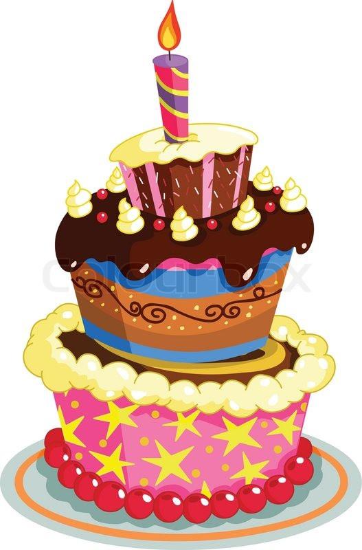 Geburtstagstorte Gezeichnet  Geburtstagskuchen Vektorgrafik