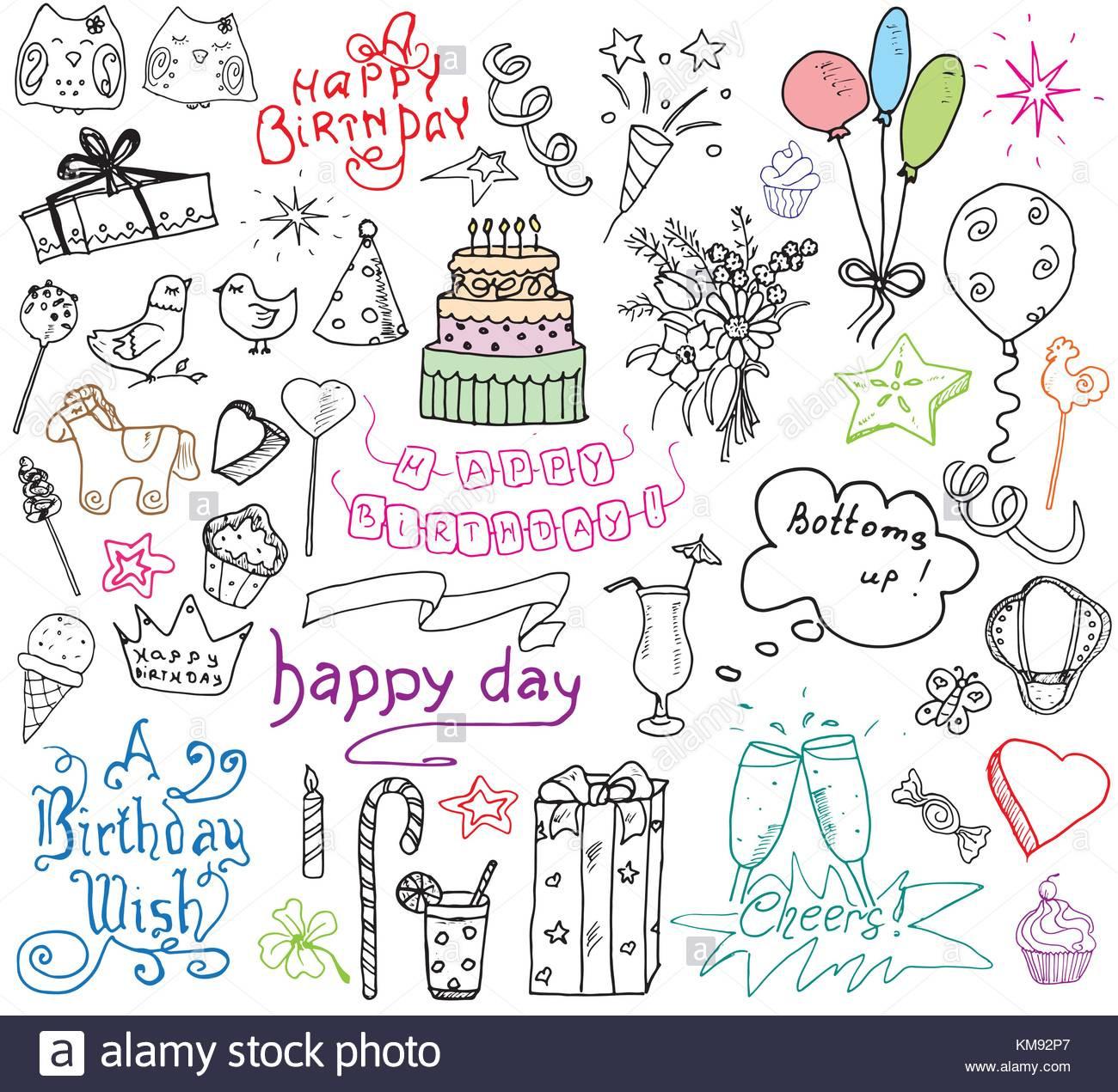 Geburtstagstorte Gezeichnet  Geburtstag Elemente Hand gezeichnet mit Geburtstagstorte