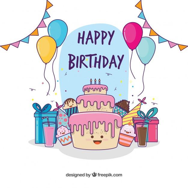 Geburtstagstorte Gezeichnet  Lovely Geburtstagstorte Hintergrund und Hand gezeichnet