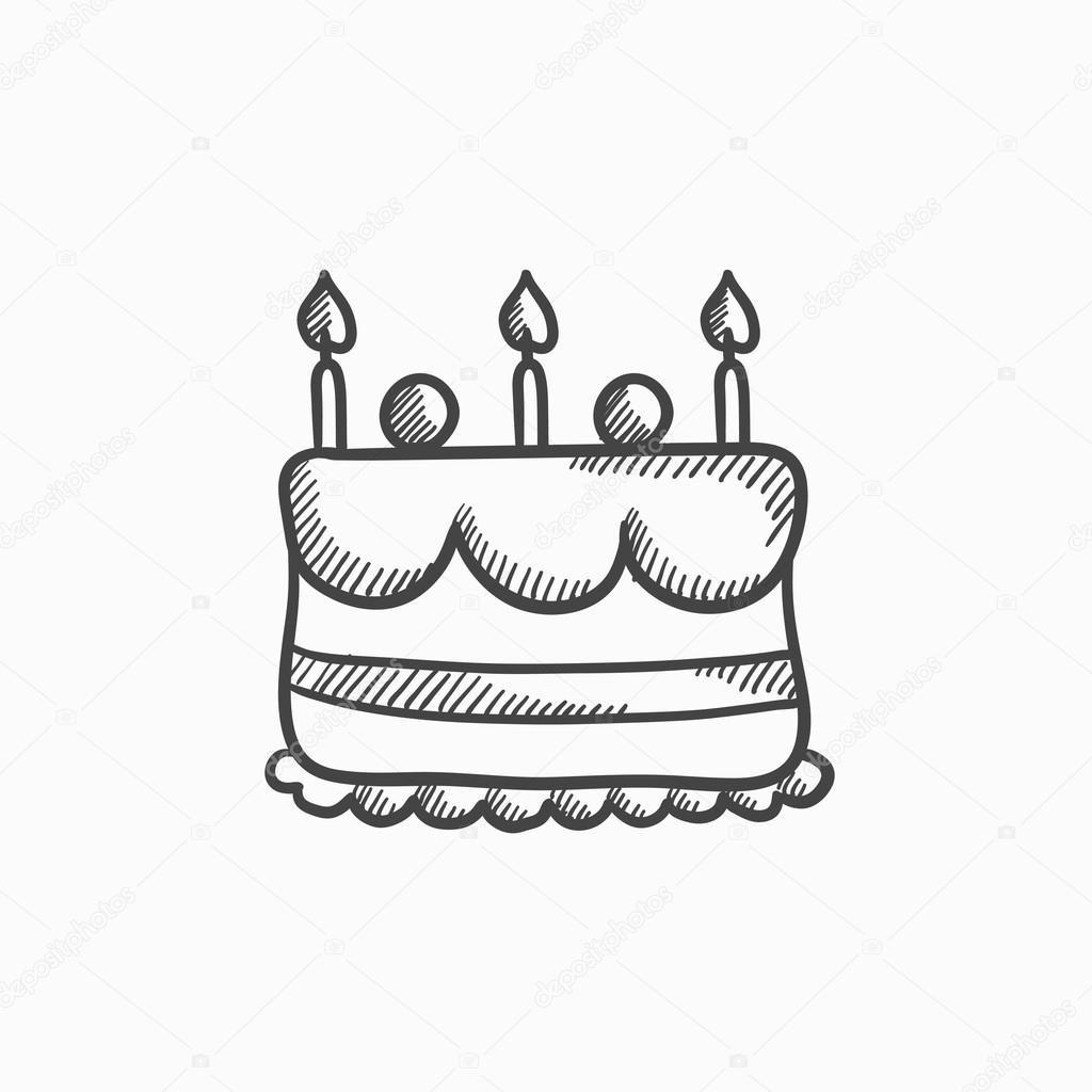 Geburtstagstorte Gezeichnet  Geburtstagstorte mit Kerzen Skizze Symbol — Stockvektor