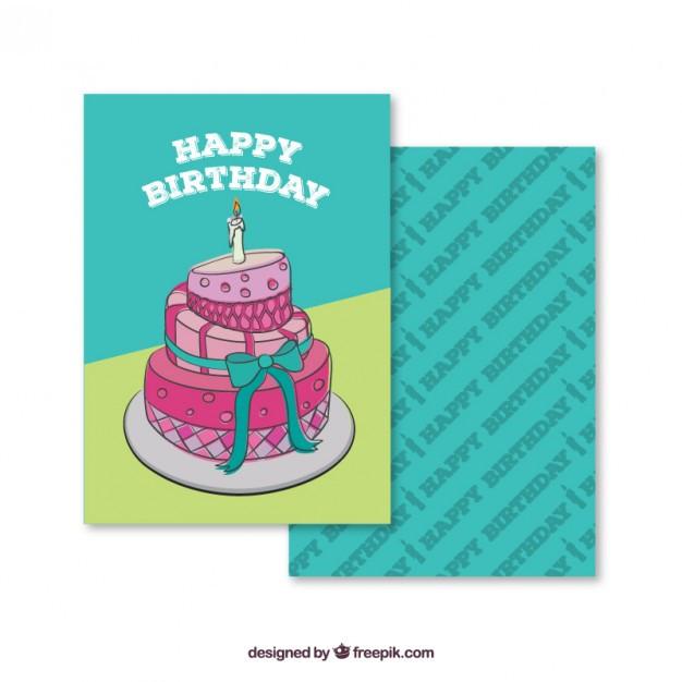 Geburtstagstorte Gezeichnet  Hand gezeichnet Geburtstagstorte Karte