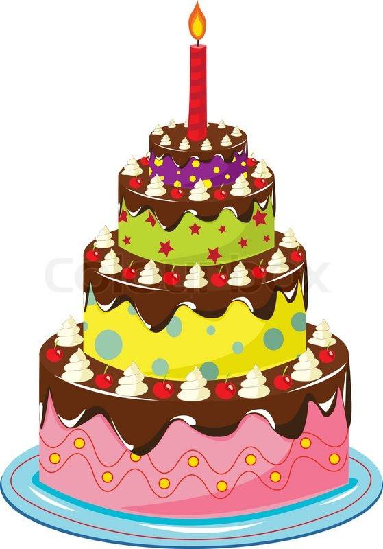 Geburtstagstorte Gezeichnet  Geburtstagstorte weiß Vektorgrafik