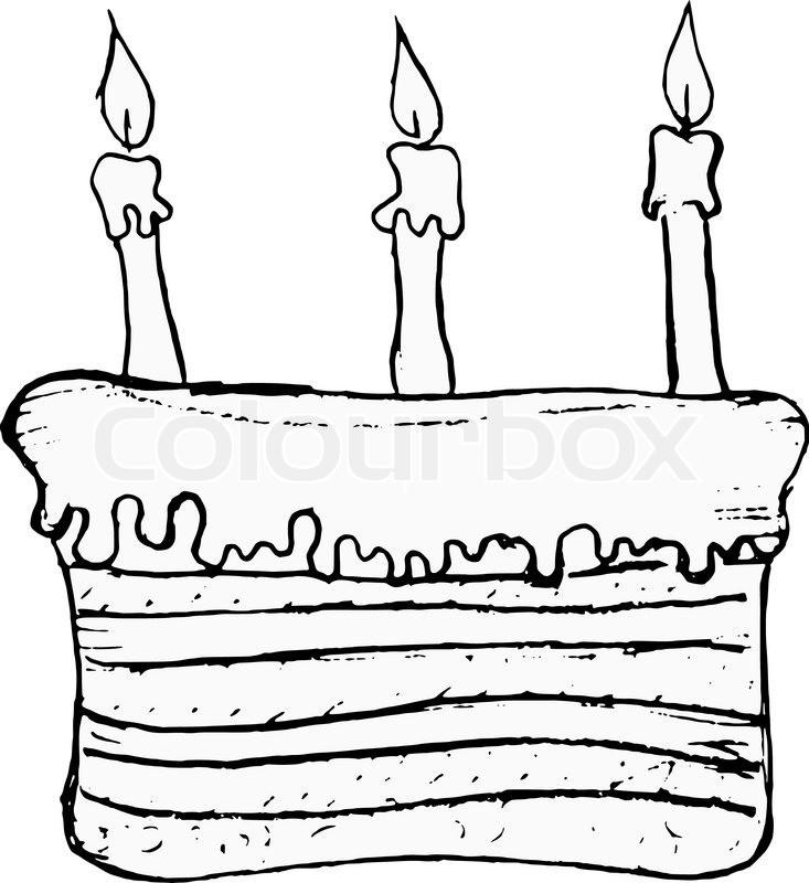 Geburtstagstorte Gezeichnet  Hand gezeichnet Vektor ic Bild von Geburtstagstorte