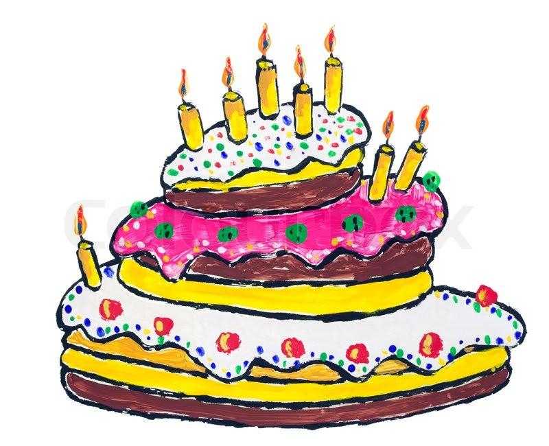 Geburtstagstorte Gezeichnet  Big Geburtstagstorte mit brennenden Kerzen abstract