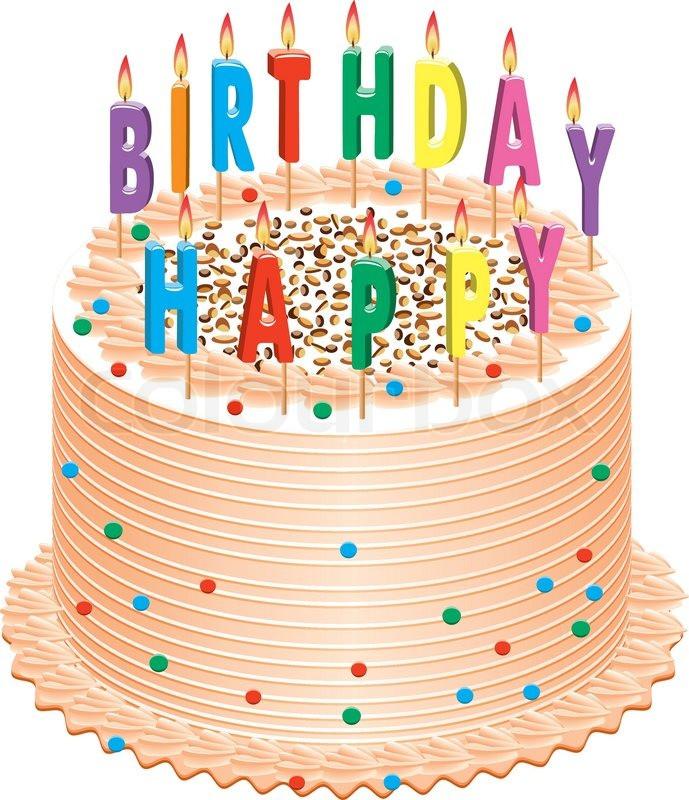 Geburtstagstorte Gezeichnet  Vektor Geburtstagstorte mit Vektorgrafik