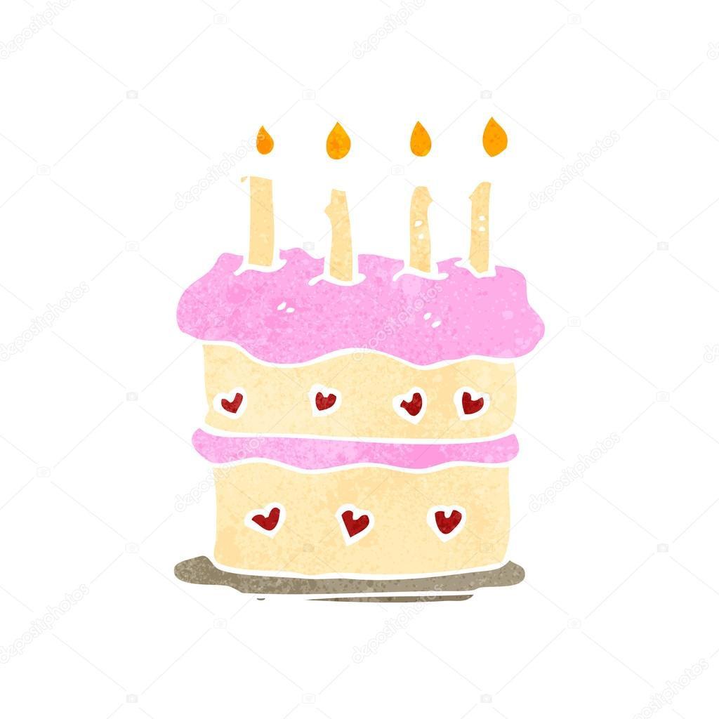 Geburtstagstorte Gezeichnet  Retro Cartoon Geburtstagstorte — Stockvektor