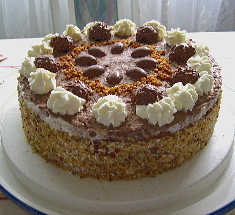 Geburtstagstorte Rezept Mit Bild  Schoko Nuss Sahne Torte von Ela Back