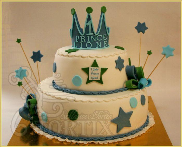 Geburtstagstorte Zum 1 Geburtstag  Tortix Torte 2 stöckig mit Krone zum 1 Geburtstag