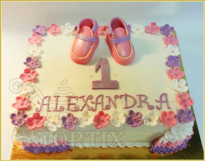 Geburtstagstorte Zum 1 Geburtstag  Tortix Geburtstagstorte für Mädchen zum 1 Geburtstag