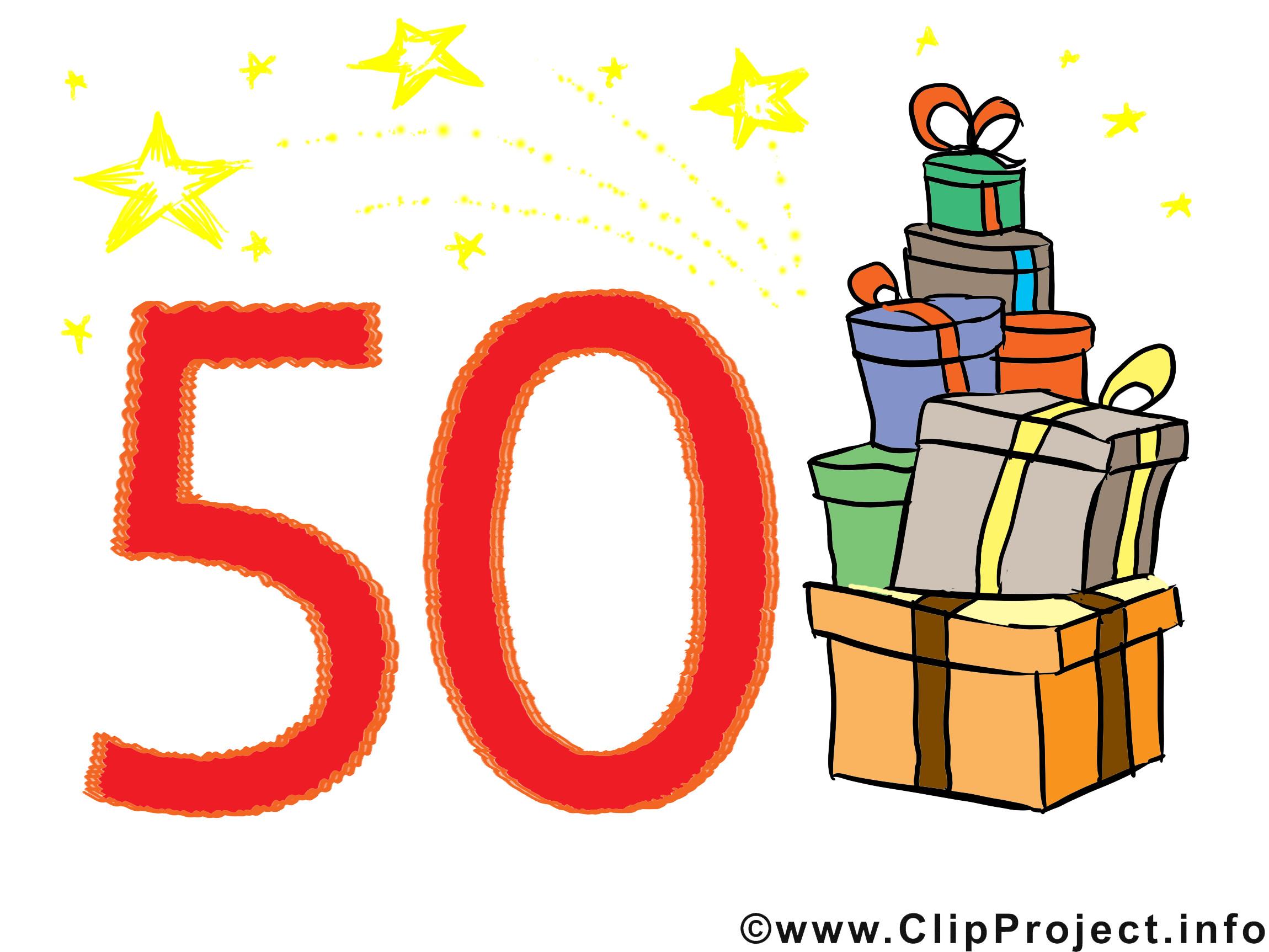 Geburtstagswünsche 50 Geburtstag  Geburtstagswünsche zum 50 Clipart Bild Glückwunschkarte