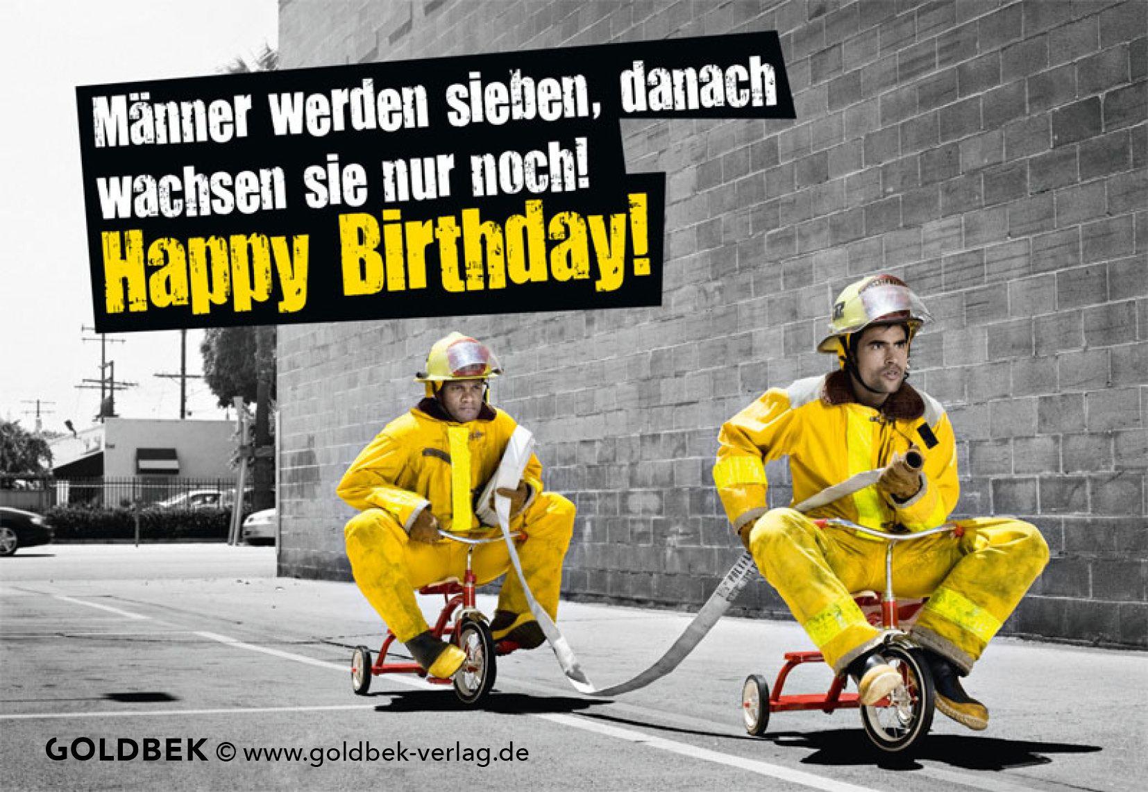 Geburtstagswünsche Feuerwehr  Postkarten Geburtstag Humor Männer werden sieben