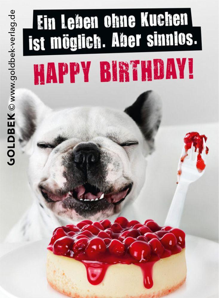 Geburtstagswünsche Frau Lustig  Postkarten Geburtstag Ein Leben ohne Kuchen ist möglich