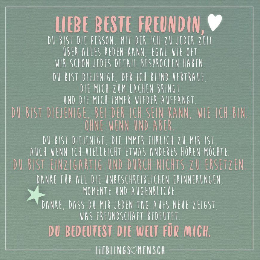Geburtstagswünsche Für Die Beste Freundin  LIEBE BESTE FREUNDIN DU BIST DIE PERSON MIT DER ICH ZU