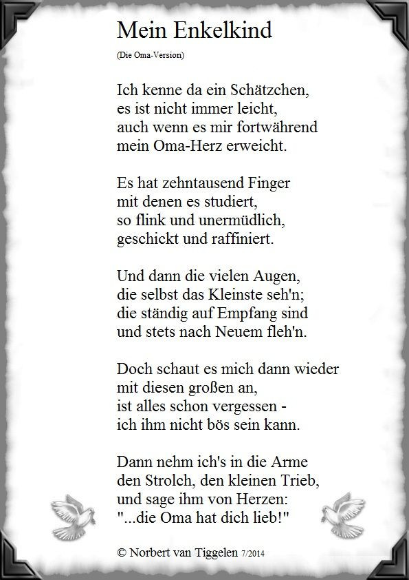 Geburtstagswünsche Für Oma Vom Enkel  Enkelkind Gedichte