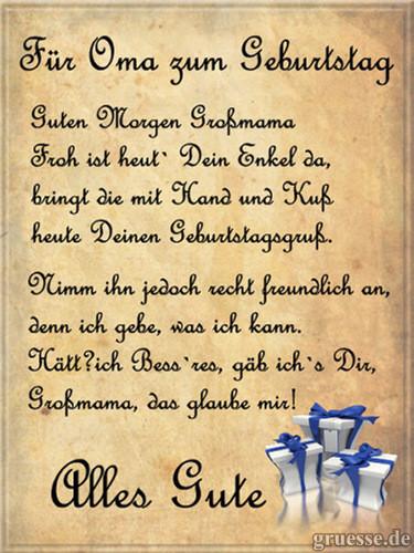 Geburtstagswünsche Für Oma Vom Enkel  Verse und Reime Geburtstag • Grußkarten eCards