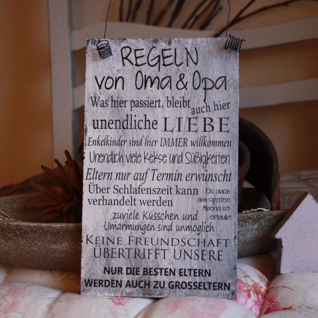 """Geburtstagswünsche Für Oma Vom Enkel  Deko Objekte Shabby Schild """"Regeln von Oma & Opa"""