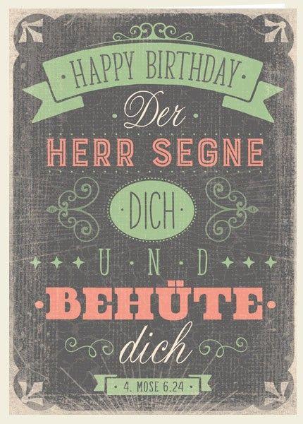 Geburtstagswünsche Gottes Segen  Doppelkarte Happy Birthday Segen