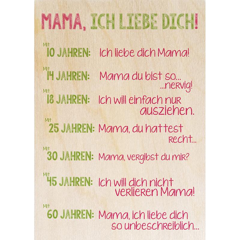 Geburtstagswünsche Mama Danke  Mama Ich Liebe Dich Die magnetische Holzpostkarte von