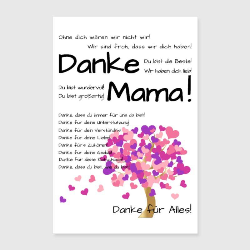 Geburtstagswünsche Mama Danke  Danke Mama Wir haben Dich lieb Poster weiß von Happy
