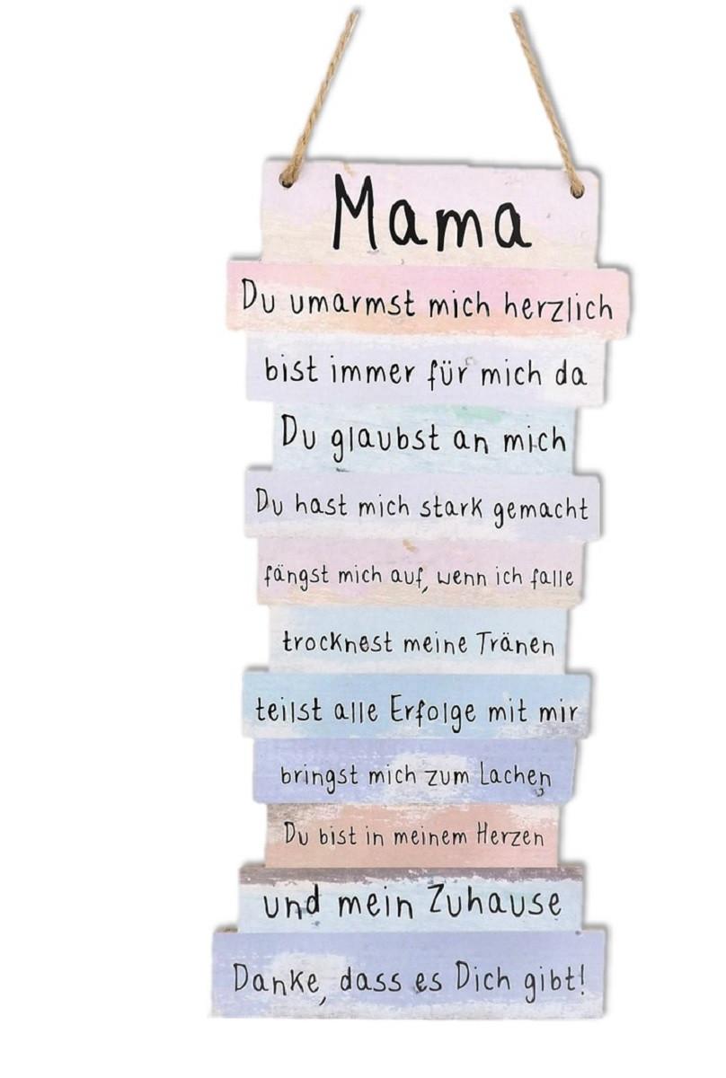 Geburtstagswünsche Mama Danke  Mama Danke Schild mit Sprüchen 15 x 32 cm zum Hängen
