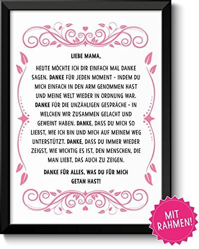 Geburtstagswünsche Mama Danke  Danke Mama gerahmtes Bild Geschenk Geschenkidee Geburtstag