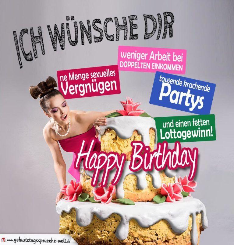 Geburtstagswünsche Mann Sexy  Humorvolle Karte Große Torte zum Geburtstag