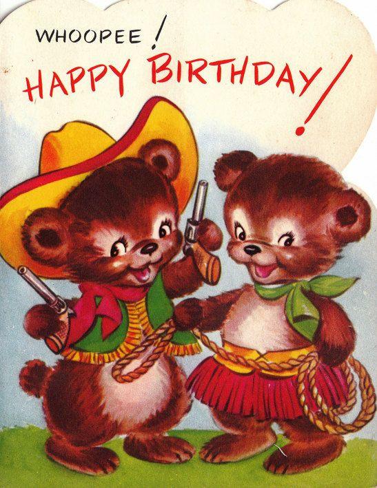 Geburtstagswünsche Retro  Vintage 1950s Whoopee Happy Birthday Greetings Card B53