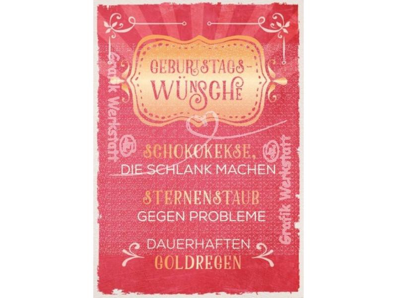 Geburtstagswünsche Retro  Postkarte Geburtstagwünsche Grafik Werkstatt