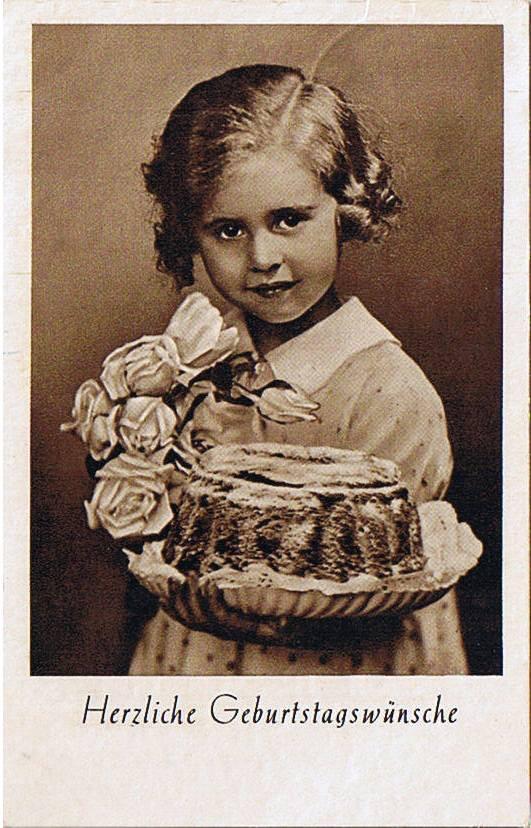 Geburtstagswünsche Retro  Ak Herzliche Geburtstagswünsche Kind mit Kuchen und