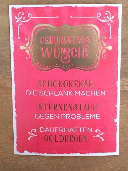 """Geburtstagswünsche Retro  Postkarte """"Geburtstagswünsche Schokokekse schlank"""