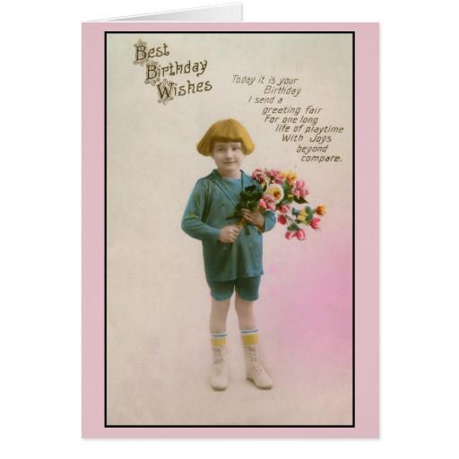 Geburtstagswünsche Retro  Vintage beste Geburtstagswünsche des kleinen Junge Karten