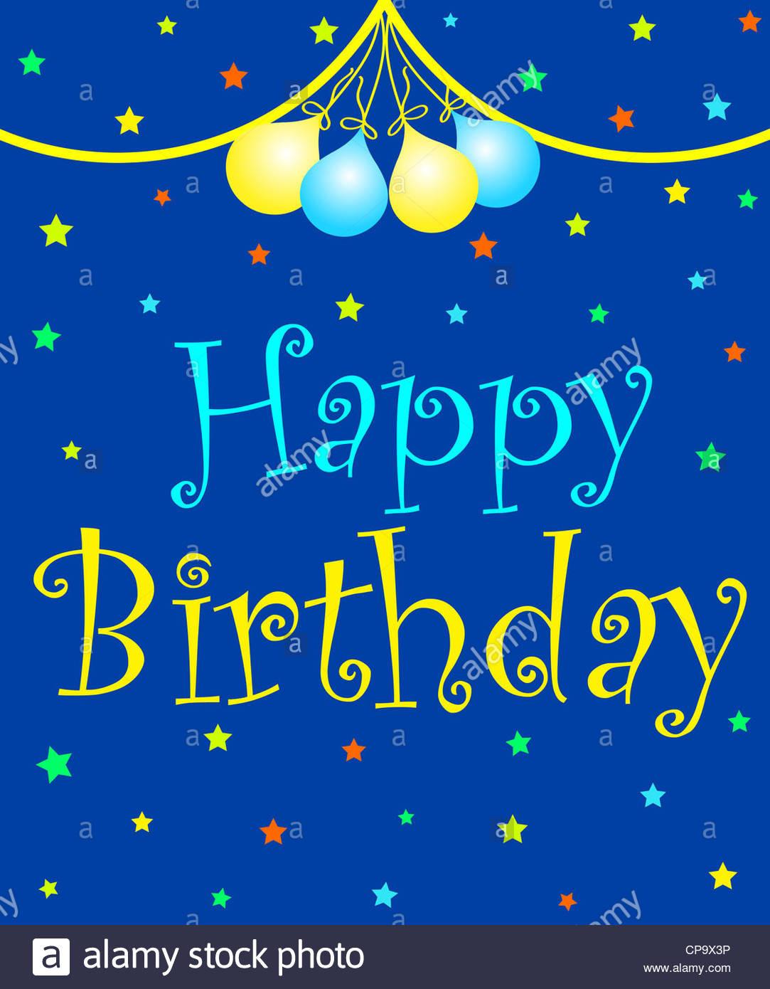Geburtstagswünsche Sohn  Bunte Feier Ballons Bändern und Sterne mit