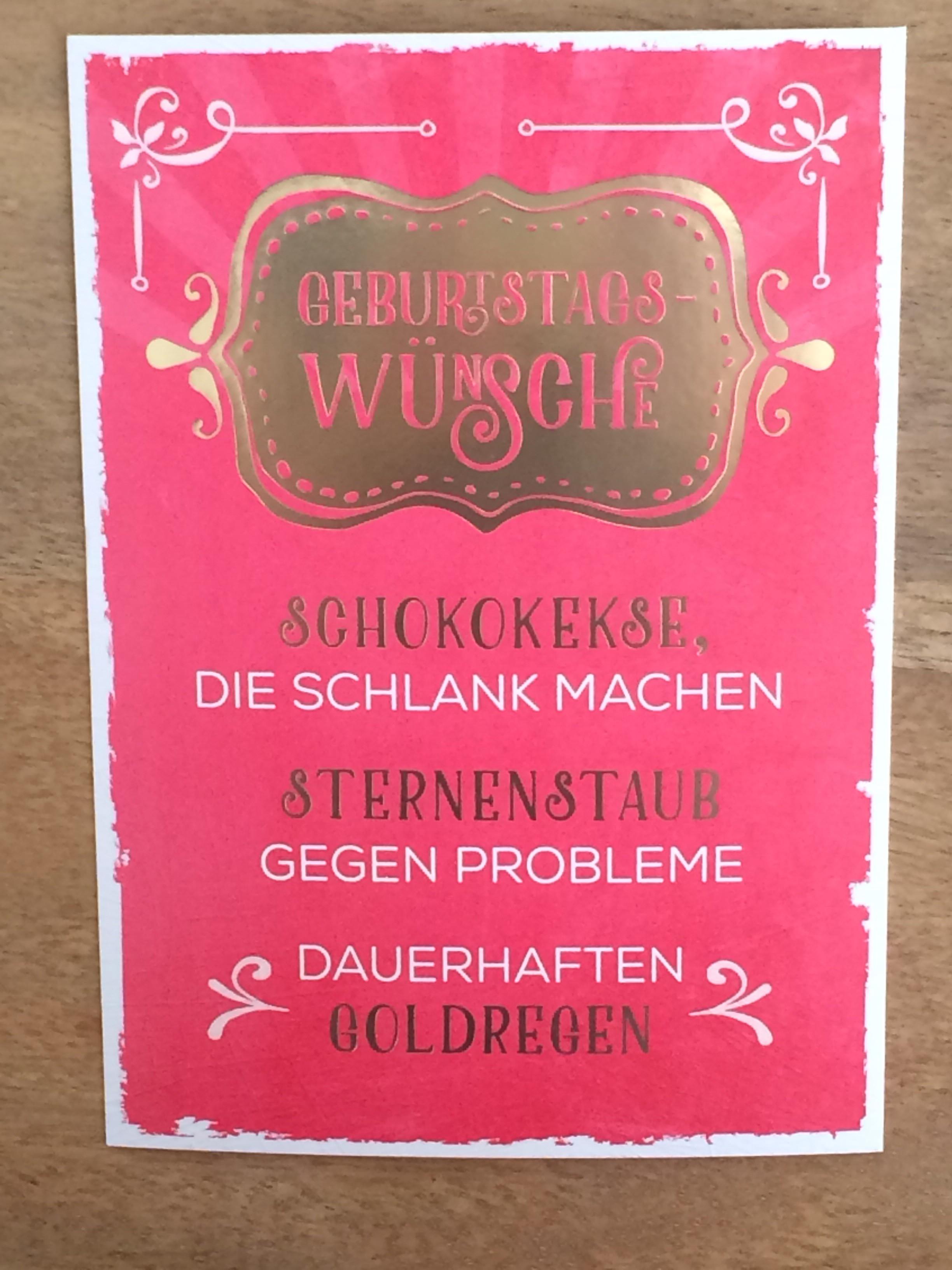 """Geburtstagswünsche Tante  Postkarte """"Geburtstagswünsche Schokokekse schlank"""