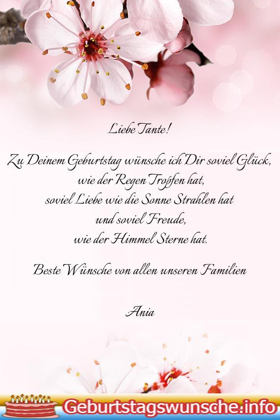 Geburtstagswünsche Tante  Geburtstagssprüche für tante Wünsche zum Geburtstag