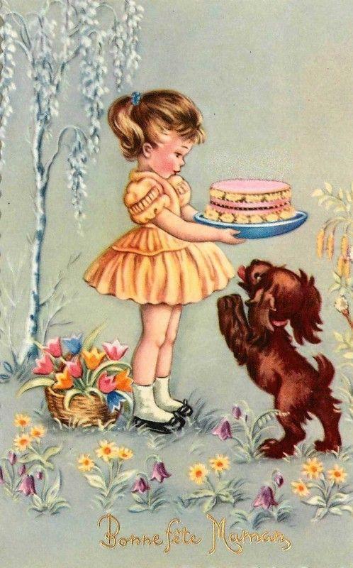 Geburtstagswünsche Vintage  Carte ancienne Fête des mamans fillette gâteau et petit
